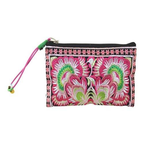 LUA Mit Blumen bestickter Reißverschluss-Geldbeutel-Handgelenkriemen pink 108