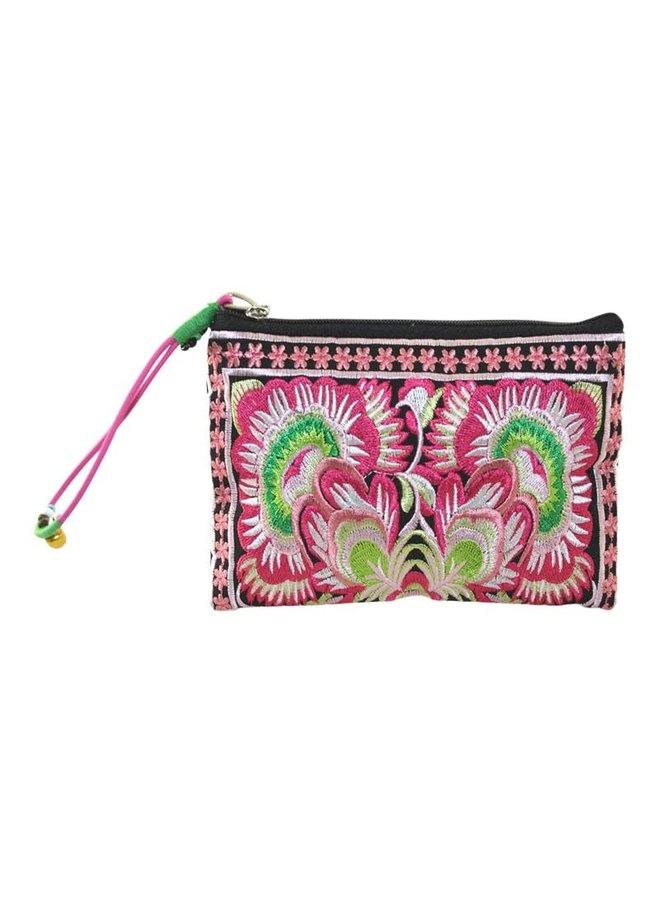 Mit Blumen bestickter Reißverschluss-Geldbeutel-Handgelenkriemen pink 108