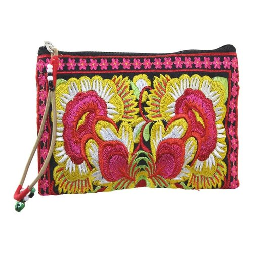 LUA Floral Embroidered zip coin purse wrist strap 112