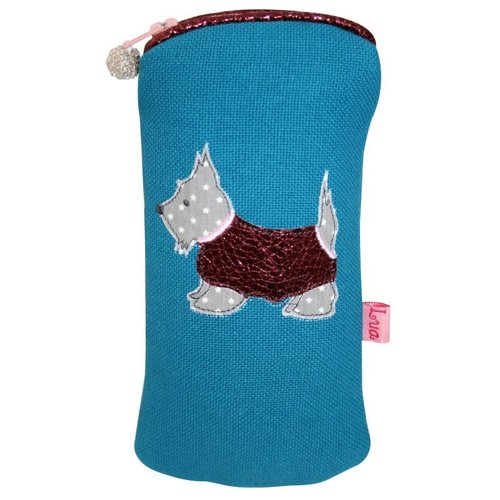 LUA Glasses zip case appliqued Scottie dog blue turquoise 130