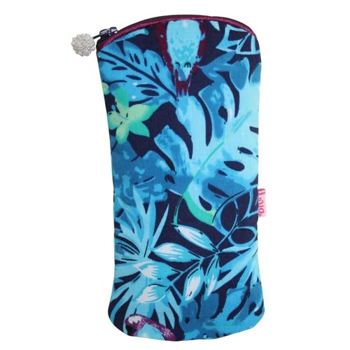 LUA Glasses zip case cotton blue parrot 128