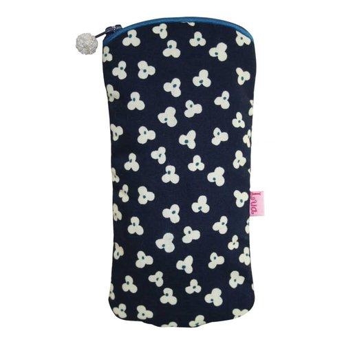 LUA Gafas con cremallera caja de algodón trébol azul marino 122