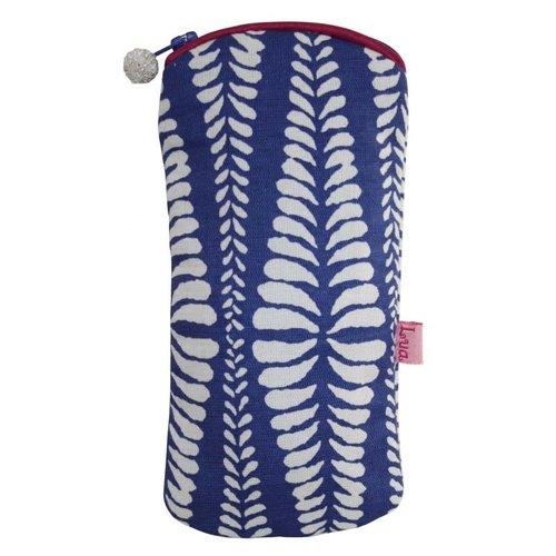 LUA Brillen-Reißverschlussetui Baumwollfarne blau 126