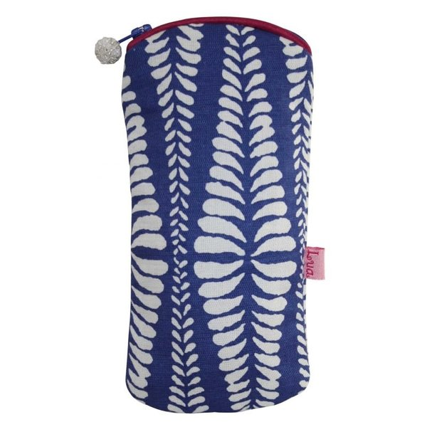Brillen-Reißverschlussetui Baumwollfarne blau 126
