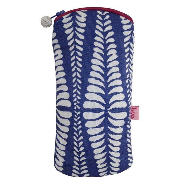 Gafas con cremallera caja algodón helechos azul 126