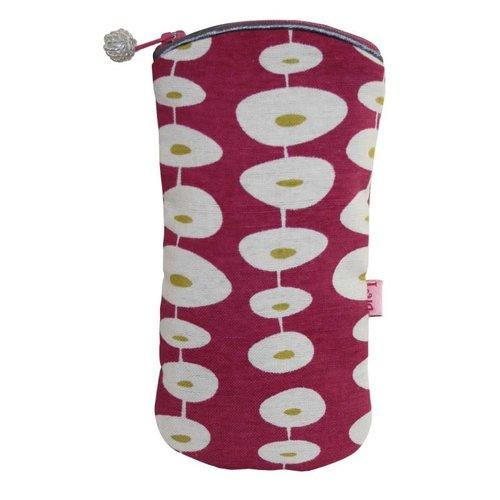 LUA Gafas con cremallera caja de algodón oval frambuesa 123