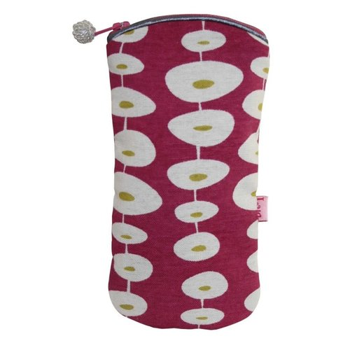 LUA Glasses zip case cotton oval raspberry 123