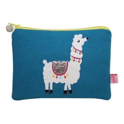 LUA Llama  appliqued Coin zip purse Blue 107