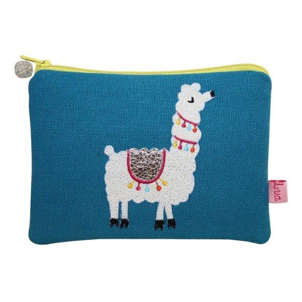 Llama  appliqued Coin zip purse Blue 107