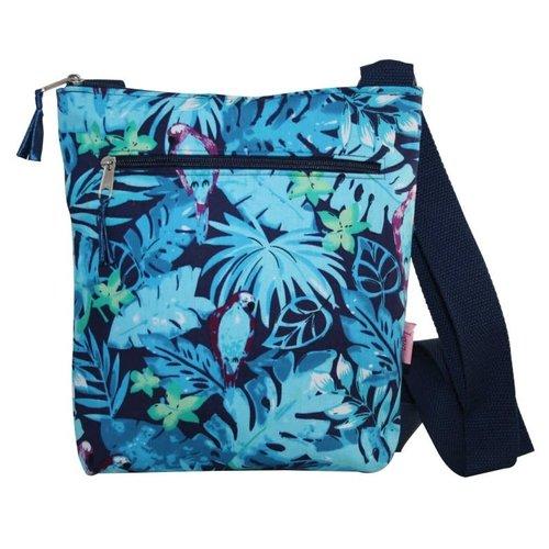 LUA Messinger Umhängetasche mit Reißverschlusstasche Blaue Papageien 131
