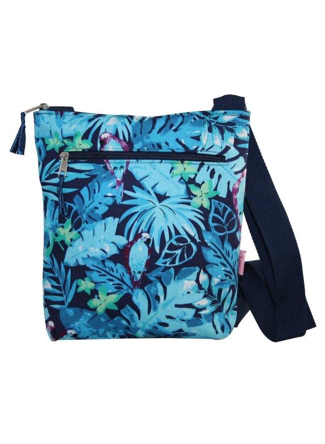 Messinger Umhängetasche mit Reißverschlusstasche Blaue Papageien 131