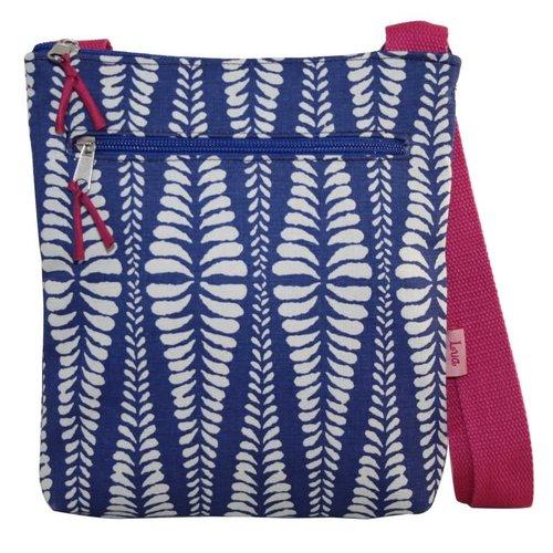 LUA Messinger bolso cruzado con cremallera bolsillos helecho azul marino 133