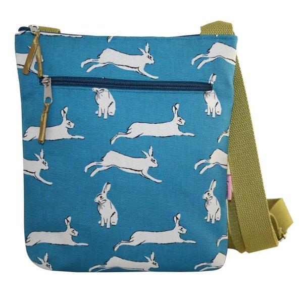 Messinger Umhängetasche mit Reißverschlusstaschen Hares türkis 132