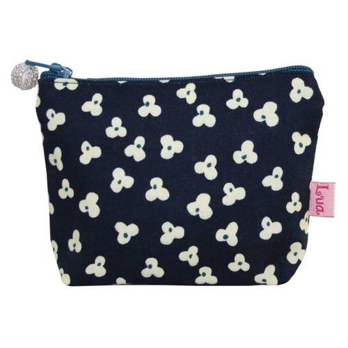 LUA Mini zip coin purse cotton clover navy 116