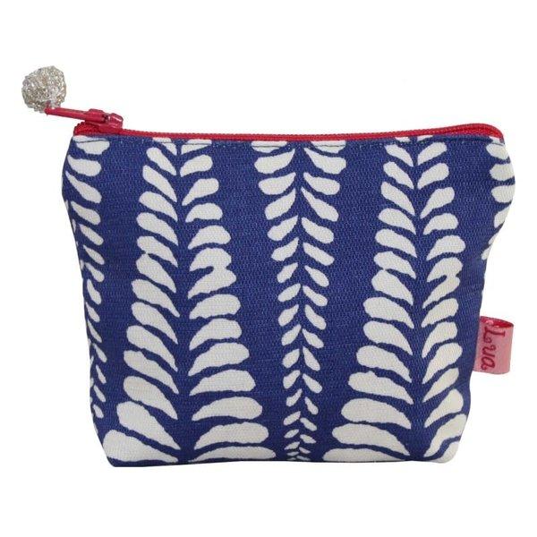 Mini monedero con cremallera algodón helecho azul 113