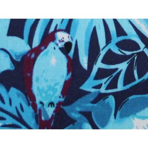 LUA Mini-Reißverschlussgeldbeutel Baumwollblatt blau Papageien 120