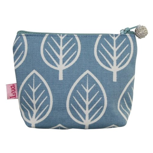 LUA Mini zip coin purse cotton leaf pale blue 119