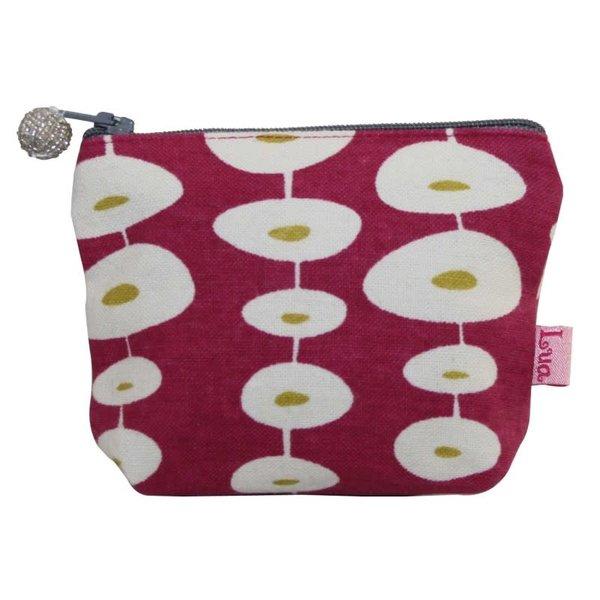 Mini zip coin purse cotton oval raspberry 118