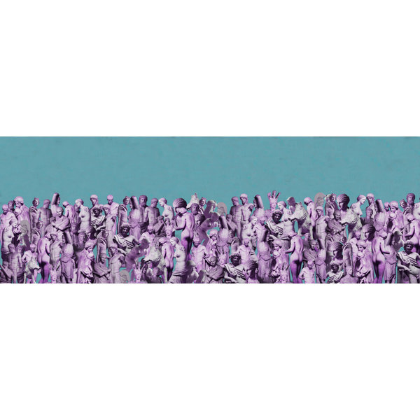 Cast of 1000 Silk and Wool Scarf  lilac-turquoise  017