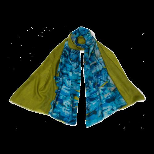 P J Studio Elenco de 1000 de seda y modelo bufanda lima turquesa 016