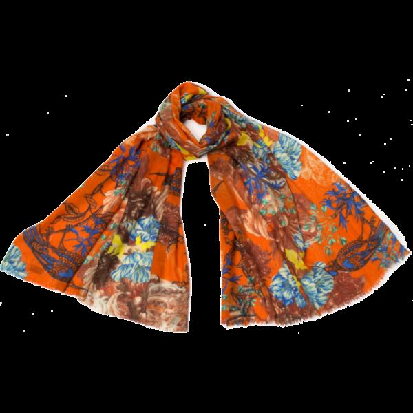 Cecilia fina lana y seda bufanda naranja 018