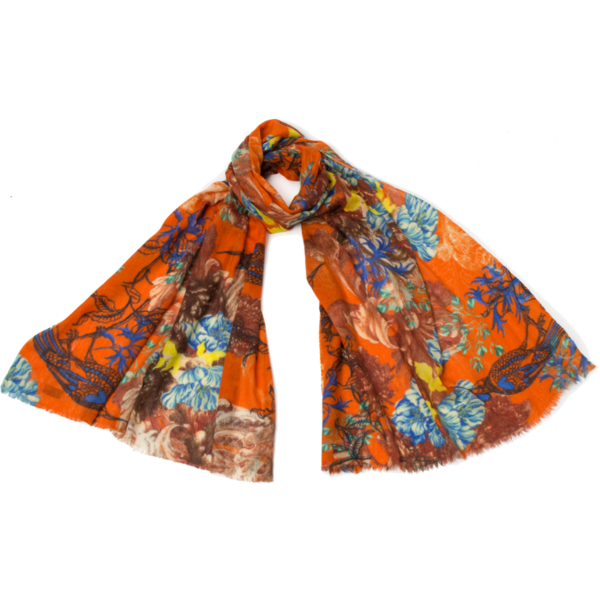 Cecilia fine wool and silk Scarf orange  018
