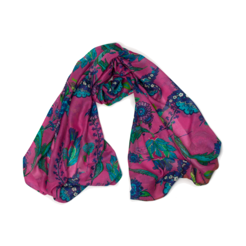 P J Studio Iznik Silk and Model Scarf blue -pink 014
