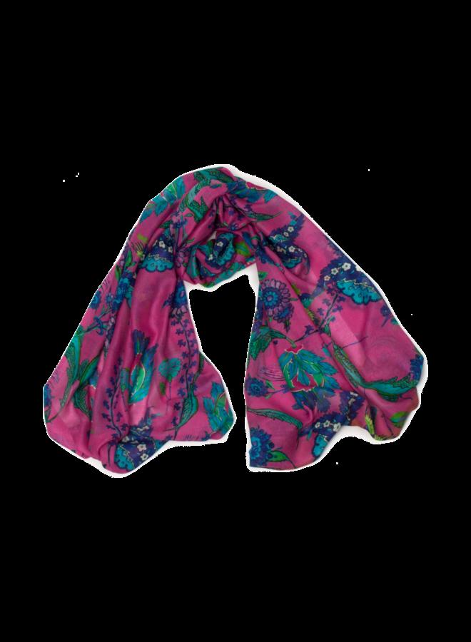 Iznik Silk and Model Scarf blue -pink 014
