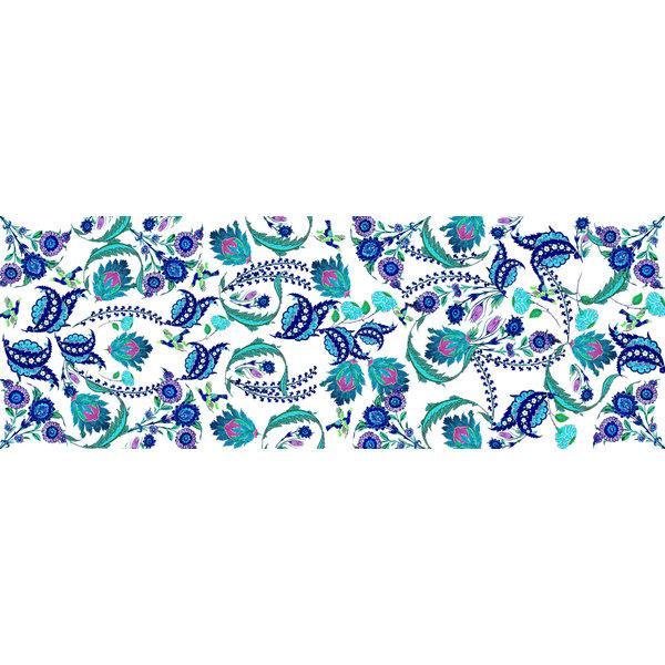 Iznik Silk and Model Scarf  white-blue  015
