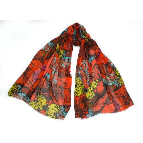 P J Studio Jewel Butterfl Silk and Model Scarf  flame 012