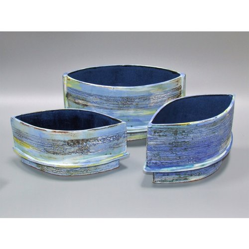 Dianne Cross Footed oval Summer Shoreline vessel each 04