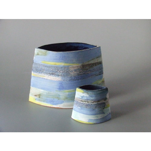 Dianne Cross Small angled Blue Wash Shoreline Vase 03