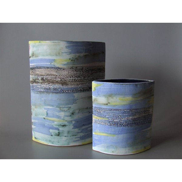 Kleine blaue Wash Shoreline Vase 06