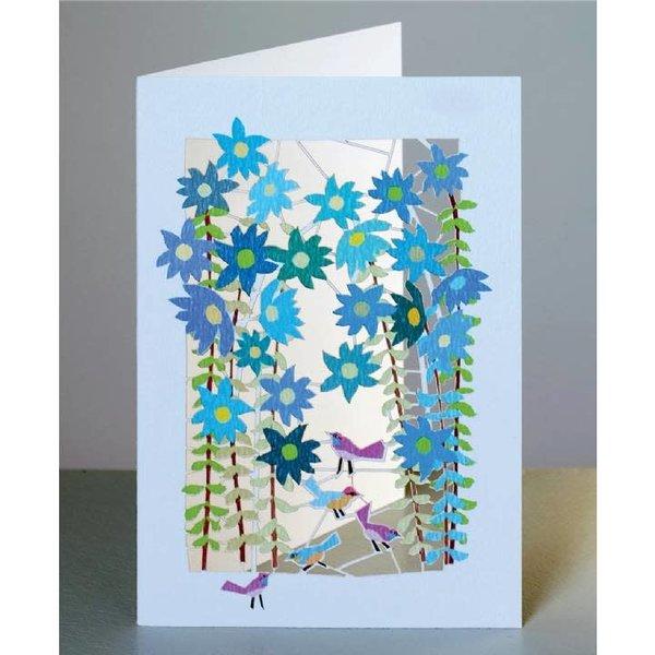 Pájaros y flores azules Lazer tarjeta de corte