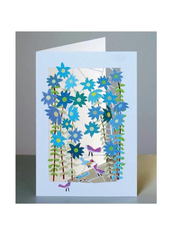 Vögel und blaue Blumen Lazer Schnittkarte