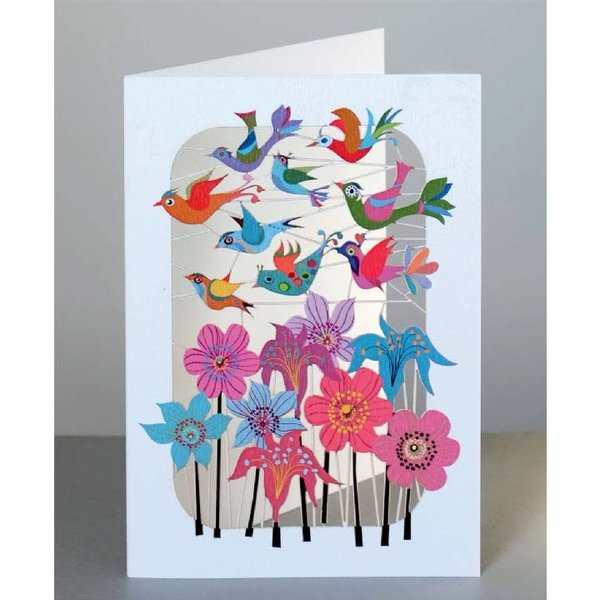 Pájaros volando sobre flores Lazer corte tarjeta