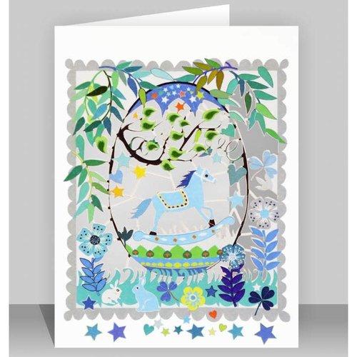 Forever Cards Tarjeta de corte láser azul caballo de oscilación