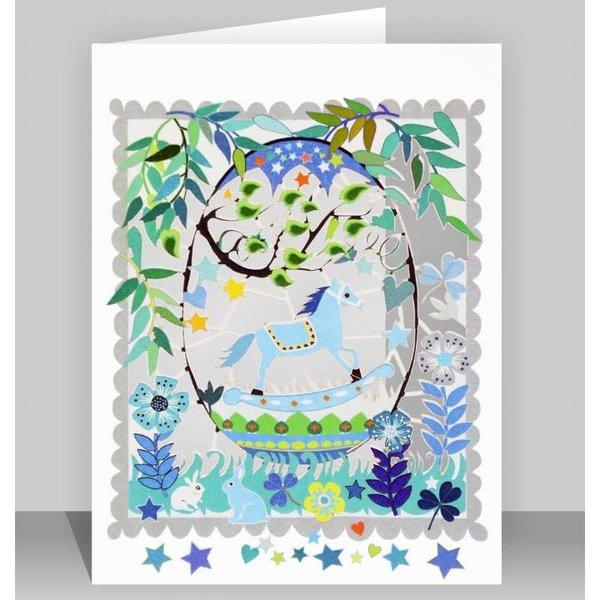 Blue  Rocking Horse Laser cut card