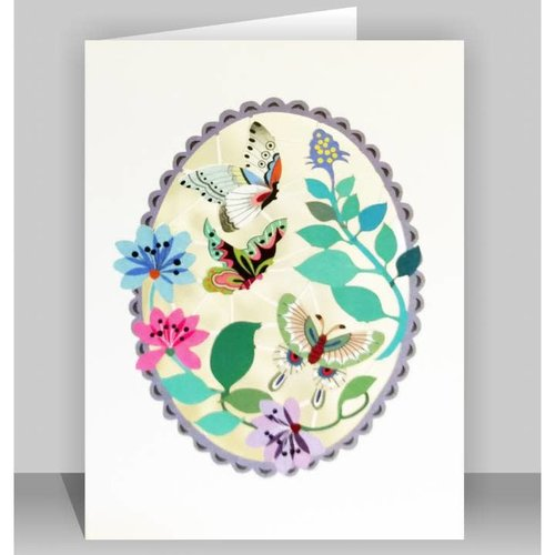 Forever Cards Butterflies in Purple oval Lazer cut card