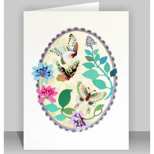 Forever Cards Mariposas en púrpura oval Lazer tarjeta de corte