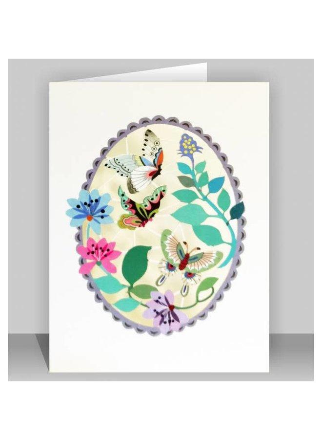 Schmetterlinge in Purpurroter ovaler Lazer-Schnittkarte