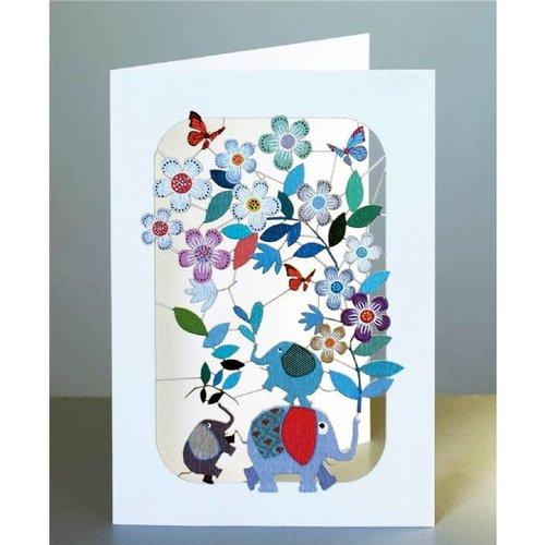 Forever Cards Los elefantes y flowersl lazer tarjeta de corte