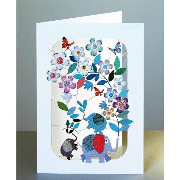 Los elefantes y flowersl lazer tarjeta de corte