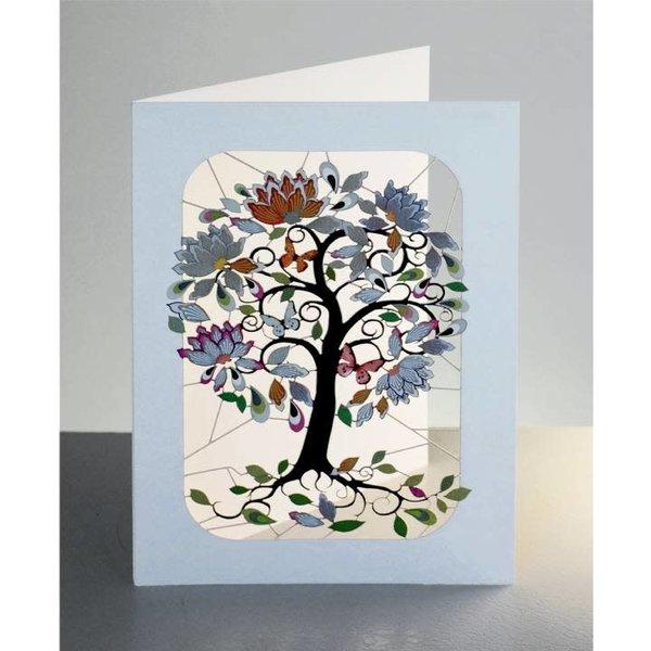 Árbol florido exótico tallos rizados Laser corte tarjeta