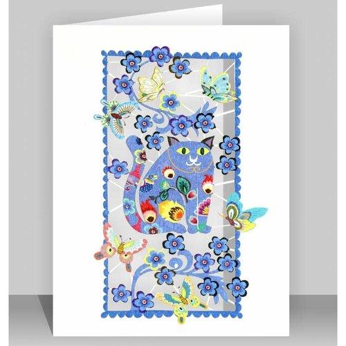 Forever Cards Tarjeta de corte laser de gato azul gordo