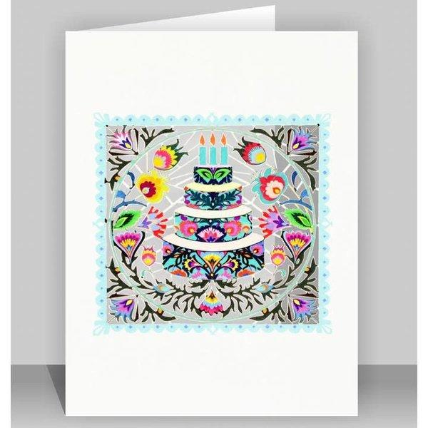 Folk art cake Laser cut card