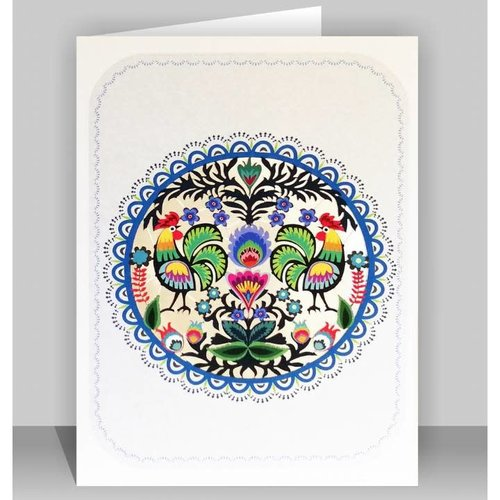 Forever Cards Folk Art Circle of Chickens Lazer cut card