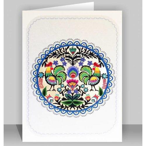 Forever Cards Tarjeta de corte del arte popular del Círculo de Pollos Lazer