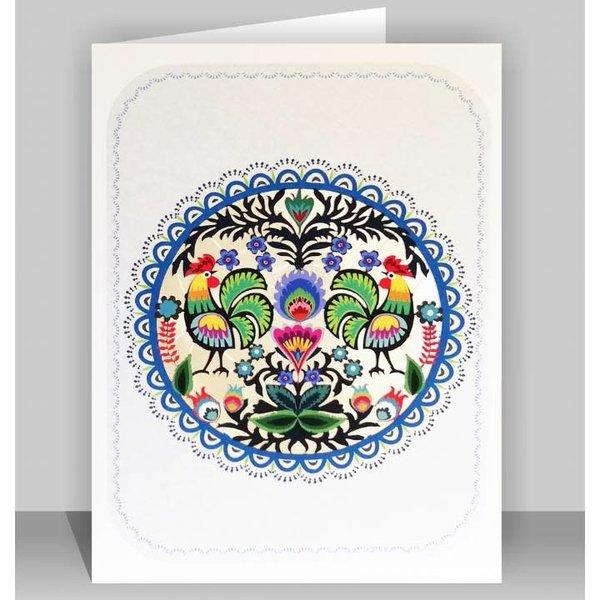 Folk Art Circle of Chickens Lazer cut card