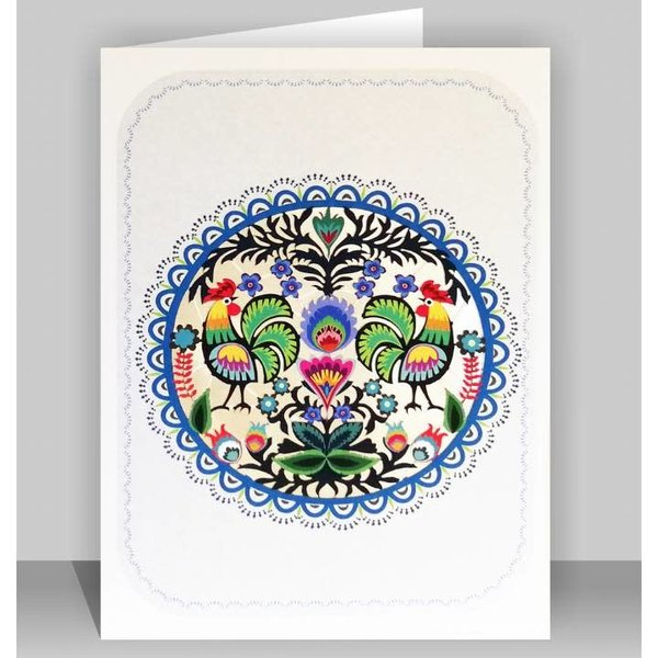 Tarjeta de corte del arte popular del Círculo de Pollos Lazer